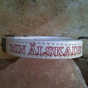 Honden halsband met naam, leer 20mm breed